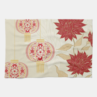 Chinese Lantern with Flowers 3 Tea Towel