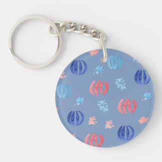 Chinese Lanterns Circle Double-Sided Keychain