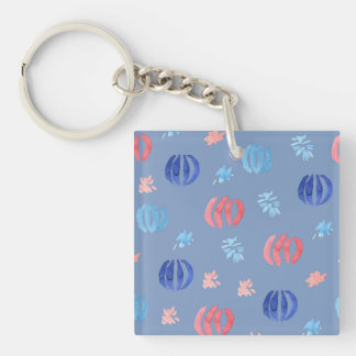 Chinese Lanterns Square Double-Sided Keychain