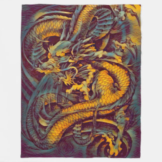 Chinese Legendary Grand Emperor Dragon Art Fleece Blanket