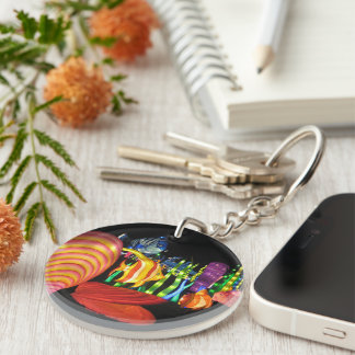 Chinese Lights Photo Image Circle Keychain