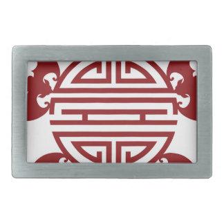 Chinese Longevity Five Blessings Symbols Belt Buckle