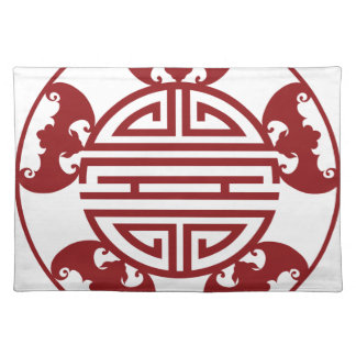 Chinese Longevity Five Blessings Symbols Placemat
