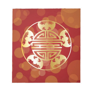Chinese Longevity Five Blessings Symbols Red Notepad