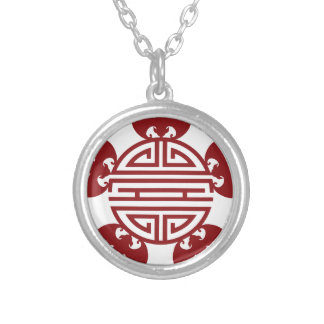 Chinese Longevity Five Blessings Symbols Silver Plated Necklace