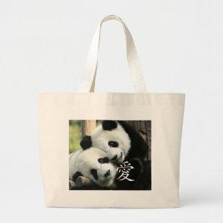 Chinese Loving Little Giant Pandas Large Tote Bag