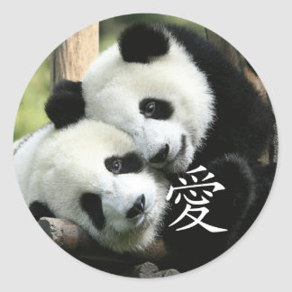 Chinese Loving Little Giant Pandas Round Sticker
