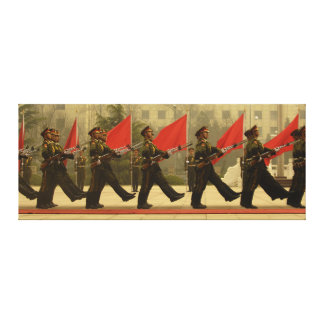 Chinese Military Honour Guard in Column Gallery Wrapped Canvas