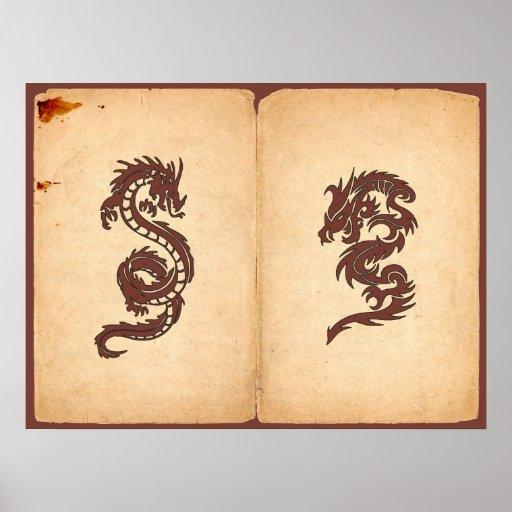 Chinese Mythology Dragon, Old Paper - Red Orange Poster