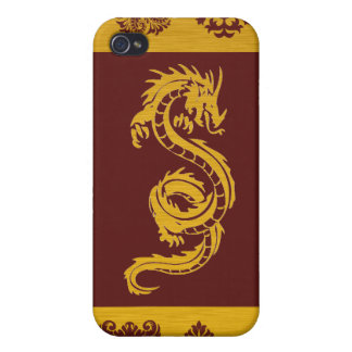Chinese Mythology Dragon, Ornaments - Red Gold Cover For iPhone 4