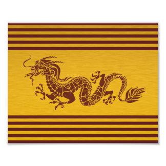 Chinese Mythology Dragon, Stripes - Red Gold Photographic Print