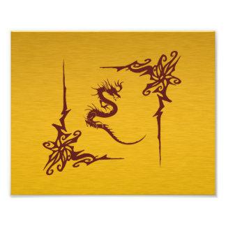 Chinese Mythology Dragon, Swirls - Gold Red Art Photo