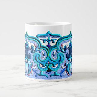 Chinese neon blue beautiful ornament jumbo mug