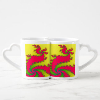 Chinese New Year Dragon Fractal Lovers Mugs