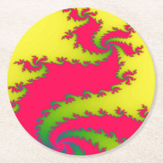 Chinese New Year Dragon Fractal Paper Coasters
