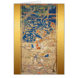 Chinese New Year Goats Chinese Tapestry 1 Greeting Card