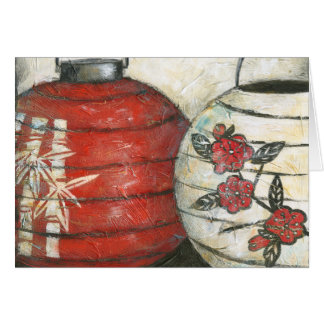 Chinese New Year Lanterns with Floral Print Greeting Card