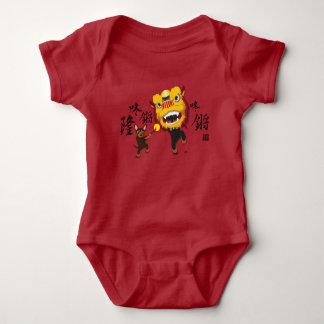 Chinese New Year Lion Dance Min Pin Baby Bodysuit