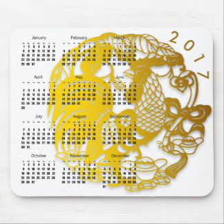 Chinese New Year of Rooster 2017 Calendar Mousepad