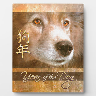 Chinese New Year of the Dog Gold Eyes Plaque