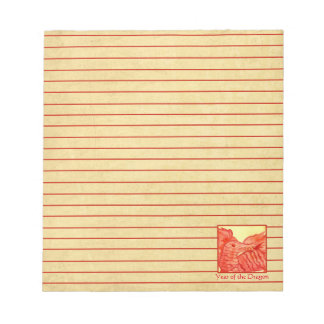 Chinese New Year of the Dragon Red Lined Memo Notepads