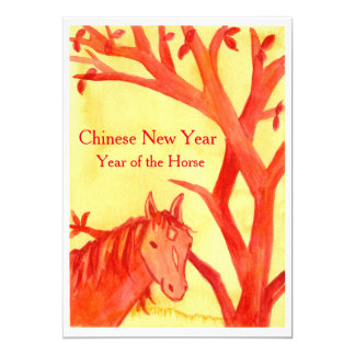 Chinese New Year of the Horse Red Party 13 Cm X 18 Cm Invitation Card
