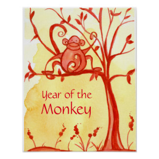 Chinese New Year Of The Monkey Red Tree Poster