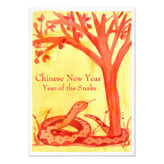 Chinese New Year of the Snake Red Party 13 Cm X 18 Cm Invitation Card