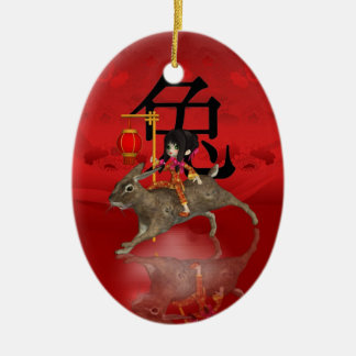 Chinese New Year Ornament, New Year 2011 Ceramic Oval Decoration