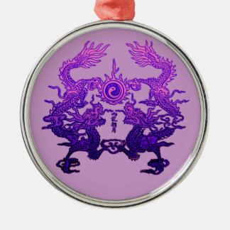 CHINESE NEW YEAR Purple Dragons Silver-Colored Round Decoration