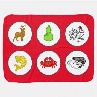 Chinese New Year Red Fish Prawn Crab Game Mat Baby Blanket
