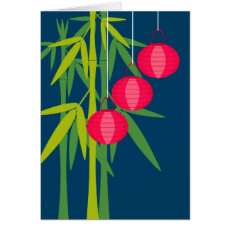 Chinese New Year Red Lanterns and Bamboo Card