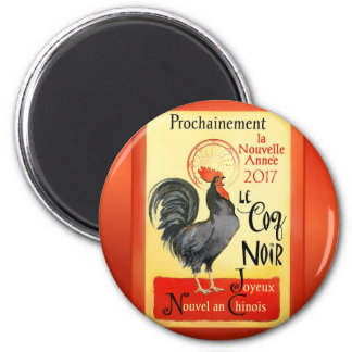 Chinese New Year Rooster French Poster Coq Noir 6 Cm Round Magnet