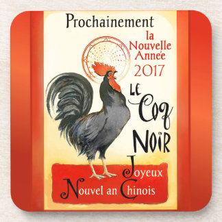 Chinese New Year Rooster French Poster Coq Noir Coaster