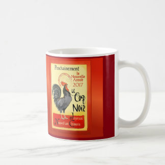 Chinese New Year Rooster French Poster Coq Noir Coffee Mug