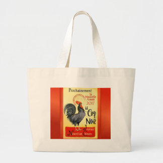 Chinese New Year Rooster French Poster Coq Noir Large Tote Bag