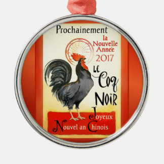 Chinese New Year Rooster French Poster Coq Noir Silver-Colored Round Decoration