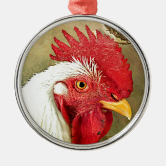 Chinese New Year Rooster & Sunrise on Gold Silver-Colored Round Decoration