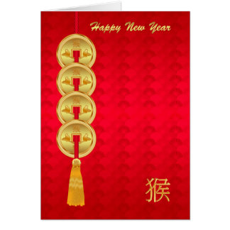 Chinese New Year, Year Of The Monkey, Coins Greeting Card
