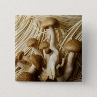 Chinese noodles and mushrooms 15 cm square badge