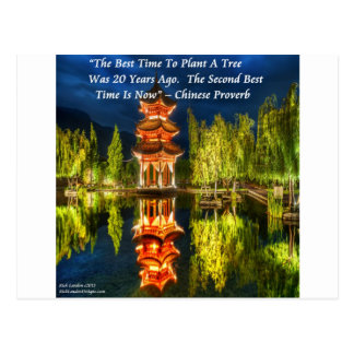 Chinese Pagoda And Nature Proverb Postcard
