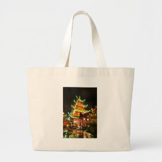Chinese pagoda at night large tote bag