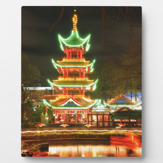 Chinese pagoda at night plaque