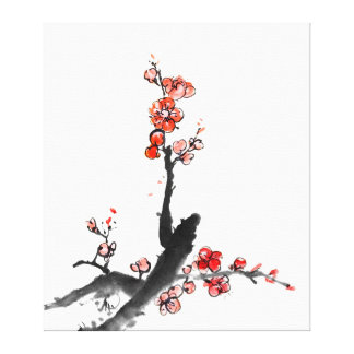 Chinese painting of flowers, plum blossom stretched canvas print