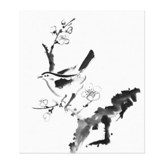 Chinese painting , plum blossom and bird gallery wrap canvas