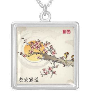 Chinese Paintings - Cherry Blossoms Custom Necklace