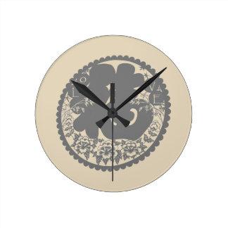 Chinese Paper Cutting Calligraphy Art Pattern Round Clock