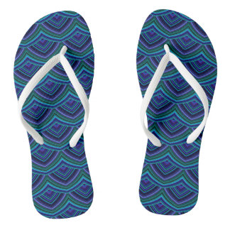 Chinese Paper Dragon Flip Flops in Blue