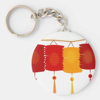 Chinese Paper Lanterns Basic Round Button Key Ring