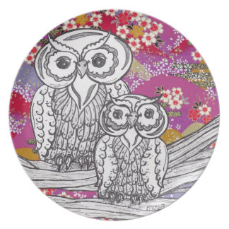 Chinese Paper Owls 14 Plate